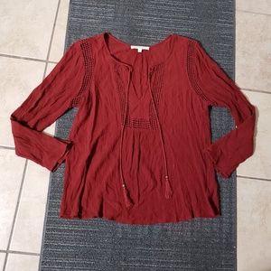 Daniel Rainn red eyelet long sleeve blouse L